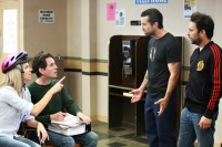 """IT'S ALWAYS SUNNY IN PHILADELPHIA -- """"Frank Falls Out The Window"""" -- Episode 1102 (Airs Wednesday, January 13, 10:00 pm e/p) Pictured: (l-r) Kaitlin Olson as Dee, Glenn Howerton as Dennis, Rob McElhenney as Mac, Charlie Day as Charlie. CR: Patrick McElhenney/FX"""