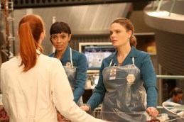 "BONES: L-R: Tamara Taylor and Emily Deschanel in the ""The Last Shot at a Second Chance"" episode of BONES airing Thursday, May 5 (8:00-9:00 PM ET/PT) on FOX. ©2016 Fox Broadcasting Co. Cr: Patrick McElhenney/FOX"