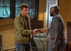 "BONES: L-R: David Boreanaz and guest star Michael Johnson in the ""The Price for the Past"" episode of BONES: THE FINAL CHAPTER airing Tuesday, Jan. 24 (9:01-10:00 PM ET/PT) on FOX. ©2016 Fox Broadcasting Co. Cr: Kevin Estrada/FOX"