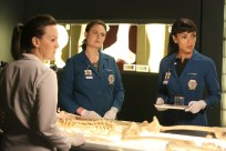 "BONES: L-R: Guest star Carla Gallo, Emily Deschanel and Tamara Taylor in the ""The Brain in the Bot"" episode of BONES airing Tuesday, Jan. 10 (9:01-10:00 PM ET/PT) on FOX. ©2016 Fox Broadcasting Co. Cr: Patrick McElhenney/FOX"