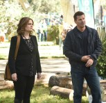 "BONES: L-R: Emily Deschanel and David Boreanaz in the ""The Flaw in the Saw"" episode of BONES airing Tuesday, Feb. 7 (9:01-10:00 PM ET/PT) on FOX. ©2017 Fox Broadcasting Co. Cr: Ray Mickshaw/FOX"