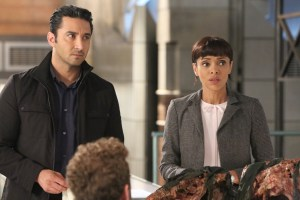 "BONES:  Guest star Pej Vahdat and Tamara Taylor in the ""The Final Chapter:  The Day In The Life"" episode of BONES airing Tuesday, March 21 (9:00-10:00 PM ET/PT) on FOX.  ©2017 Fox Broadcasting Co.  Cr:  Ray Mickshaw/FOX"