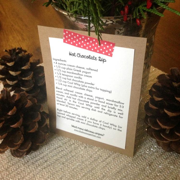 hot chocolate dip recipe card