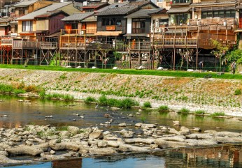 Japanese wooden patios by the river