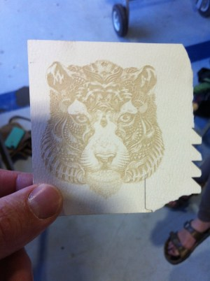 Example of a laser etching done with Chimera Makerspace laser cutter.