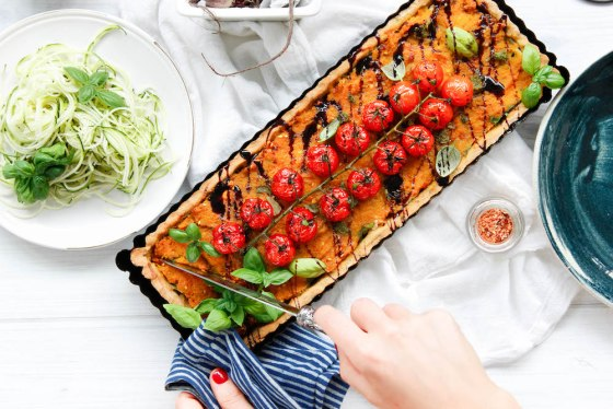Roast Vegetable Tartlet with Herbed Chickpea Crust from The Fit Foodie. Gluten Free. Chickpea (besan) flour.