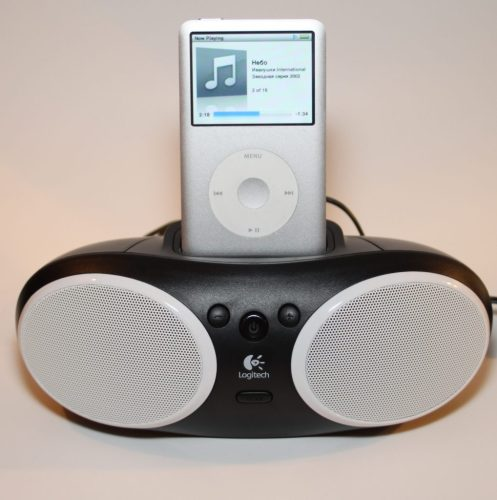 iPod attached to speaker