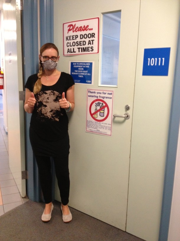 """The sign on this Victoria University Classroom door says: """"Thank you for not wearing fragrance."""" And and other sign on the door says: """"Please keep door closed at all times. (Noteworthy: people need two signs to be able to notice that there is a sign on the door!)"""