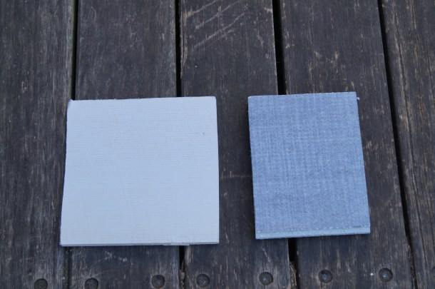 Our samples of Modakboard: 10 mm tapered edge (walls); and 20 mm tongue and groove (floors)