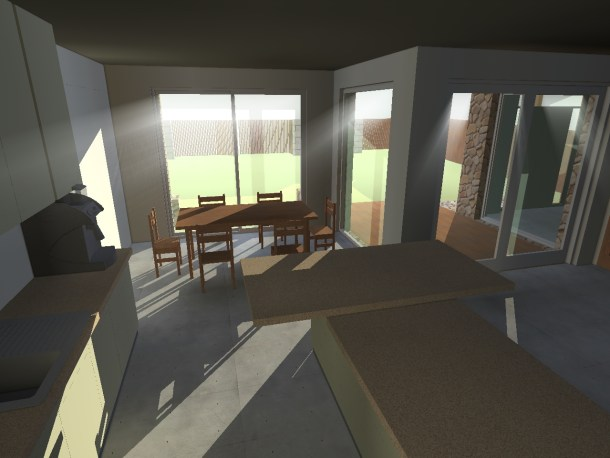 A sun study of an eco-freindl y house. It shows sunlight splashed across the room in June, which is winter in Australia
