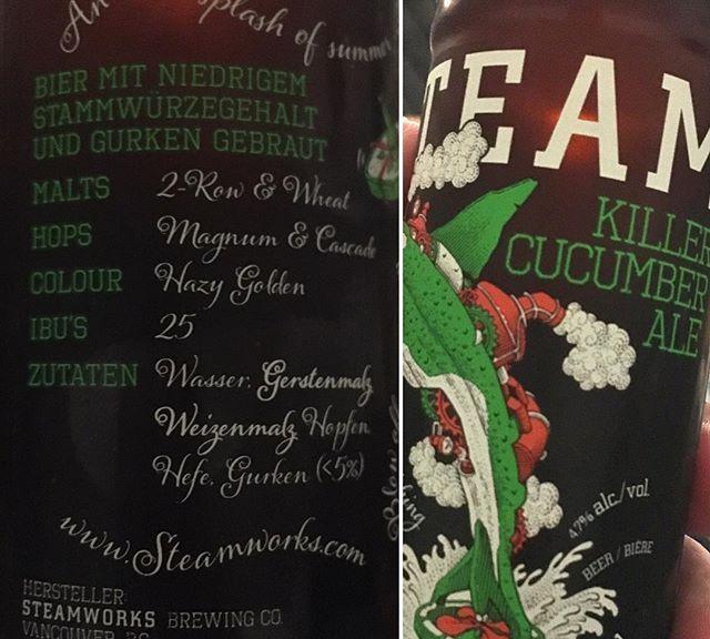 Zum Tagesabschluss: @steamworksbeer Killer Cucumber Ale. Wenn Gin/Tonic mit Gurkenscheibe schmeckt, warum nicht auch Bier? @steamworksbeer_europe