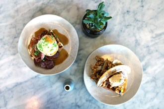 Public's newest waffle additions; savoury on the left, sweet on the right