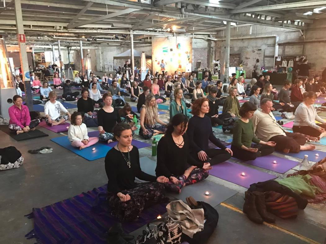 A relaxing yoga session at Sanctuary Festival Adelaide
