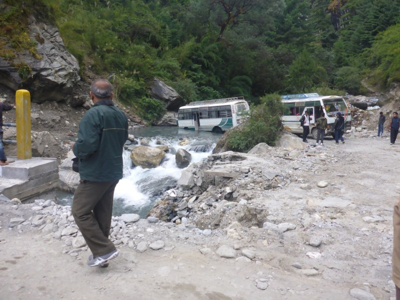 Bus in the river Nepal