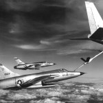U.S. Air Force Republic F-105D Thunderchief fighters refuel from a Boeing KC-135A Stratotanker en route to North Vietnam in 1966.