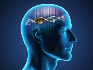 Profile view of man with DNA