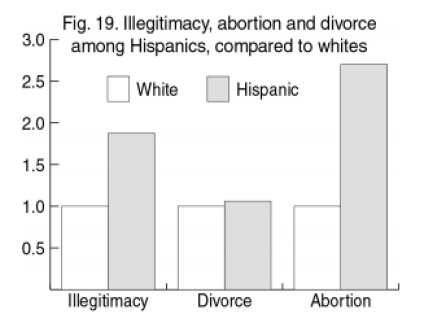 Non marital births, abortion, and divorce, Hispanics and Whites, Amren 2004