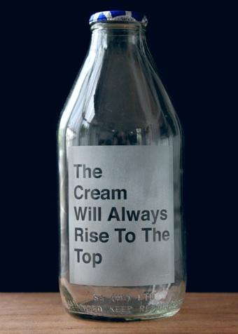 Vinegar and brwon paper, etched glass milk bottles