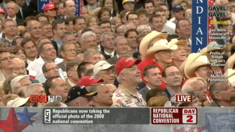 Image from the Republican National Convention, showing hundreds of enraptured white men, no visible women or PoC