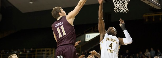 Warhawks guard Nick Coppola lays in the go-ahead basket with 9.7 seconds remaining to put ULM up 91-90 over App State. Coppola scored  25 points in the victory.