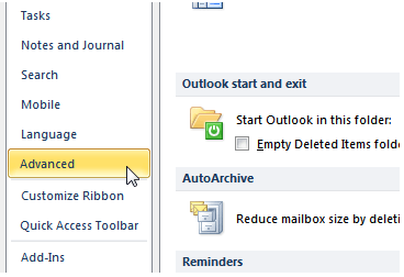 advanced options in outlook