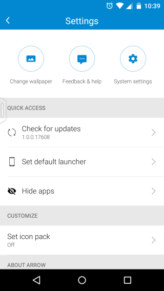 Arrow launcher settings