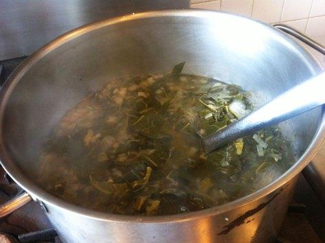 Slow cooking Collard Greens