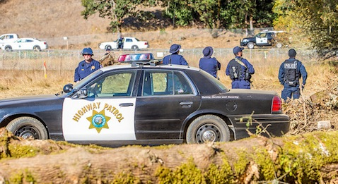 CHP officers at the Willits Bypass site, September 2013. photo by Steve Eberhard/The Willits News