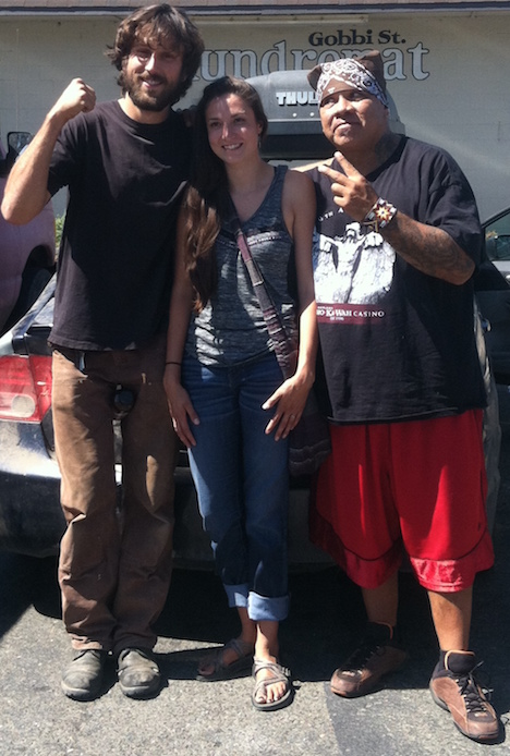The Mendo-to-North Dakota support caravan poses at the Ukiah Natural Foods Co-Op parking lot prior to departing. From left to right: Luke of Potter Valley, Sierra Alexander of Willits, and Jassen Rodriguez of Kelseyville (photo by Dorothy Wood).