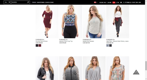 Cute FOREVER 21 fashions available for all sizes!