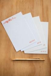 orange letterpress cards