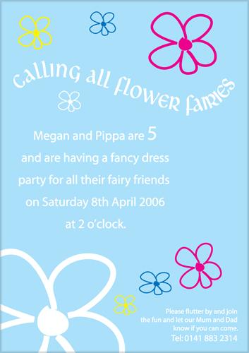 Flower Fairies kids party invite