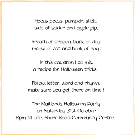 October 2008 Bay Attic Blog – Halloween Party Invitation Poems