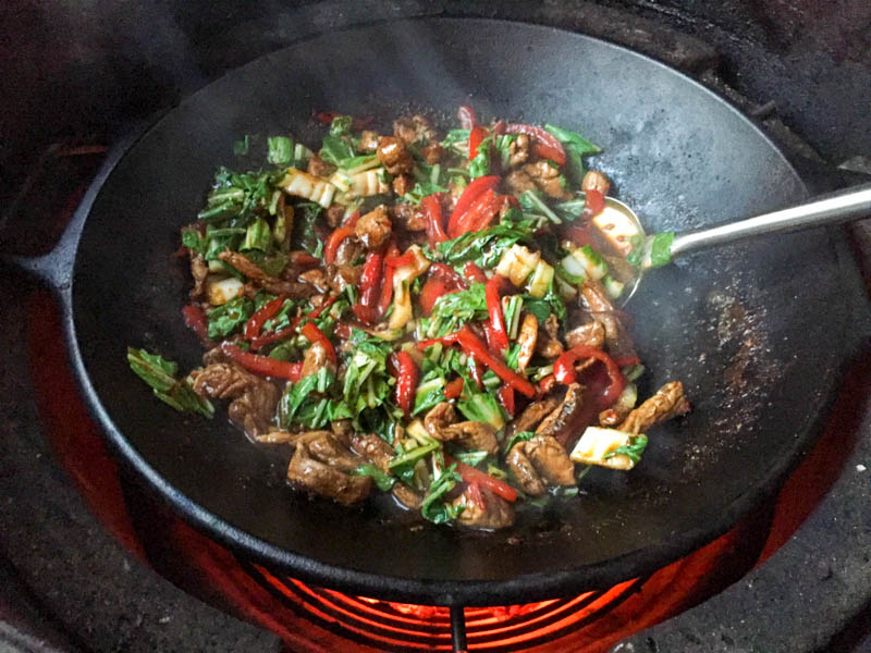 Big Green Egg Thai Chili Pork Stir Fry