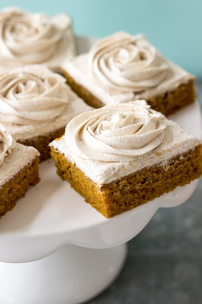 Pumpkin Squares with Cinnamon Vanilla Buttercream Frosting | The Beach ...
