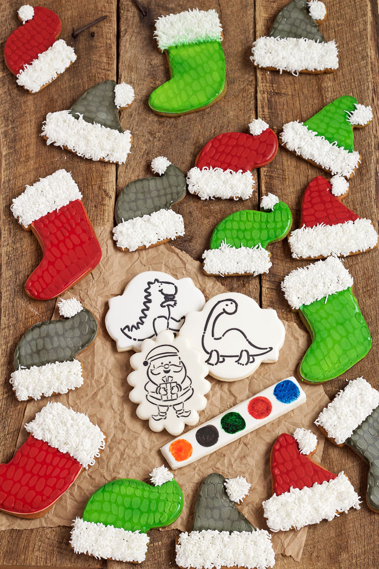 Dinosaur Christmas Cookies with a PYO Stencil   The Bearfoot Baker Give the Kids a Fun Project of Paint Your Own Dinosaur Christmas Cookies    The Bearfoot