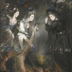 Lady Melbourne with the Duchess of Devonshire and Anne Damer in Witches Round the Cauldron by Daniel Gardner (1775)