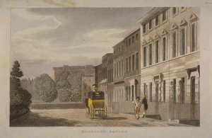 An engraving of the street exterior of 50 Berkeley Square