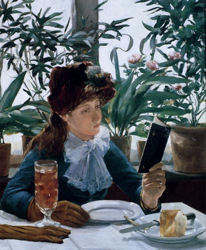 Young Victorian lady reading in a cafe while awaiting the arrival of her meal