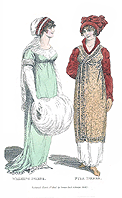 Print of two ladies chatting, with one holding a large muff