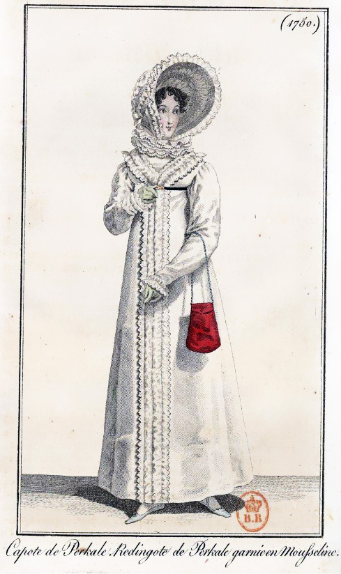 Print of Regency lady wearing a frilly white redingote carrying a red reticule