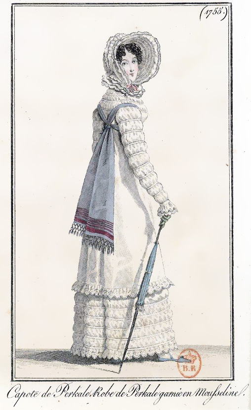 Print of a Regency lady wearing a white gown with long, ruched sleeves and carrying a blue parasol