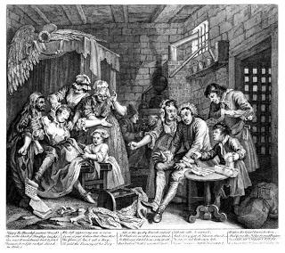 Print of Hogarth's Rake's Progress - the prison scene