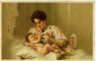 Painting of a lady holding a baby on a pillow on her lap while she feeds it.