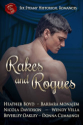 Cover image for the RAKES AND ROGUES boxes set with Barbara Monajem, Heather Boyd, Nicola Davidson, Wendy Vella, Beverly Oakley, and Donna Cummings