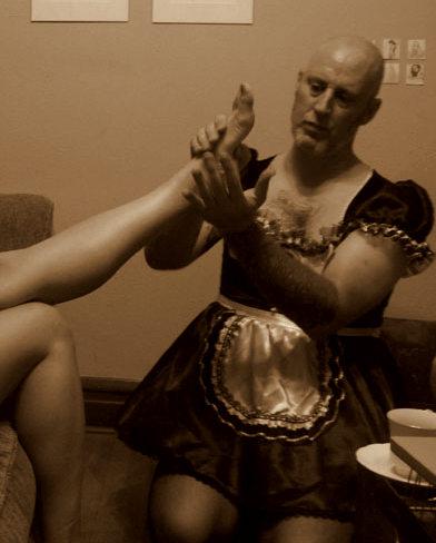 sissy maid serving tea