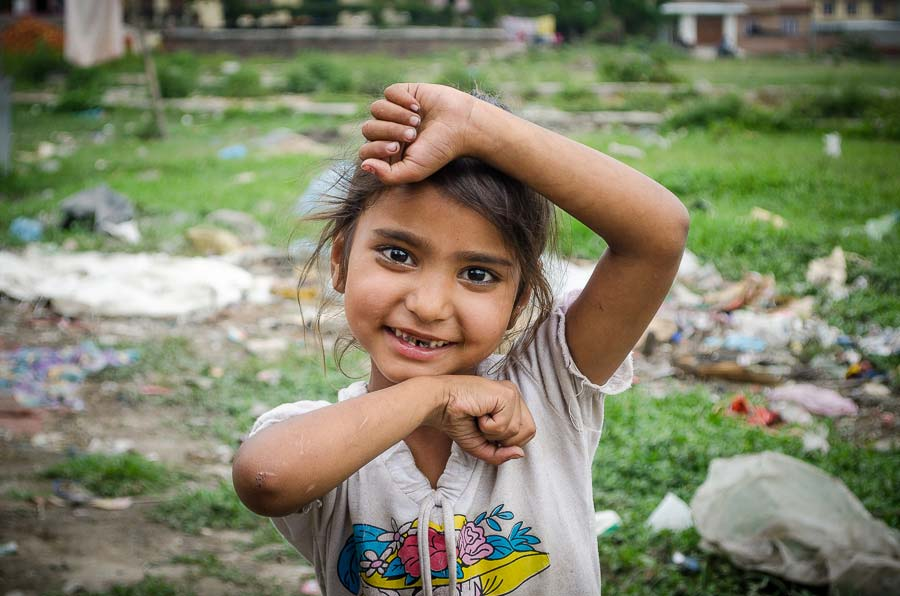 Young girl that lives in tent city of Kathmandu, Nepal