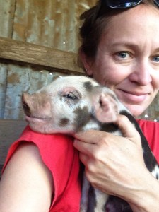 My first pig selfie. I look exhausted because I am.
