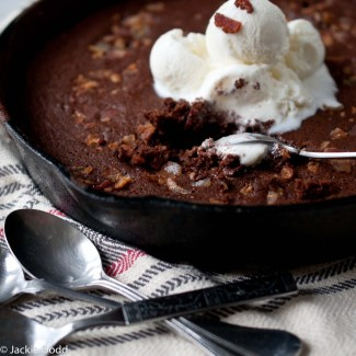 Chocolate Stout and Bacon Skillet Brownie