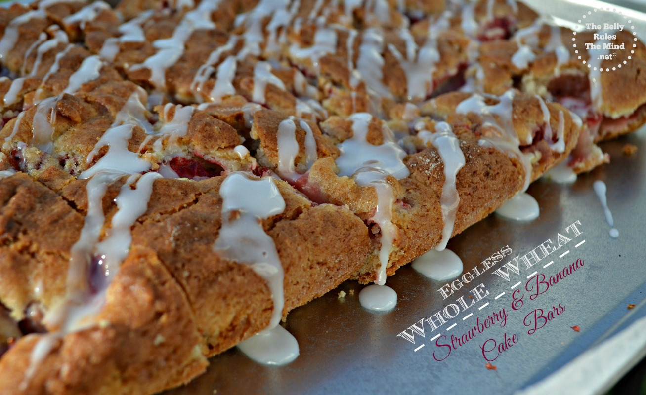 eggless whole wheat strawberry and banana cake bars